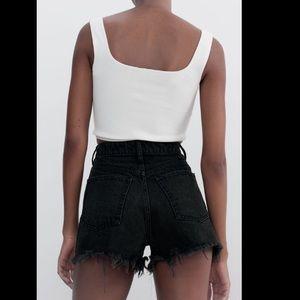 Zara High Waist Distressed Denim Shorts